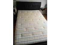 DOUBLE BROWN LEATHER BED FRAME WITH VERY CLEAN MATTRESS FREE LOCAL DELIVERY AVAILABLE 07486933766