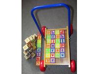 Brick trolley including full alphabet blocks and extras