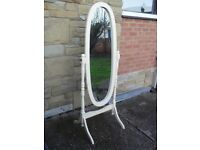 Shabby Chic Farmhouse Country Pine Free Standing Mirror In Farrow & Ball Cream No 67