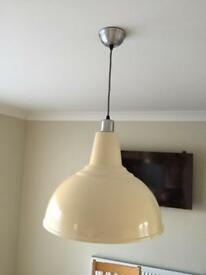 Cream metal ceiling light fitting
