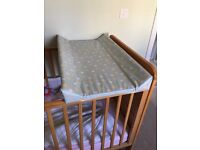Cot top changing table and mat