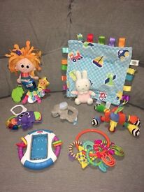Baby Toy Bundle, Lamaze Pram Toys, Fisher Price I-Phone Holder, Taggies Blanket, Rattles