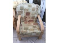 2 Seater Sofa and 2 Armchairs, light wood frame, ideal for conservatory