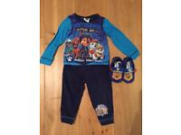 Boys 12-18 months PJ's and slippers - Paw Patrol