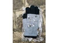 New grey/black 3 in 1 gloves with pearl and sequin pattern