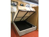 AVAILABLE TODAY New Grey fabric 4ft6 double ottoman storage bed £319 LIMITED STOCK