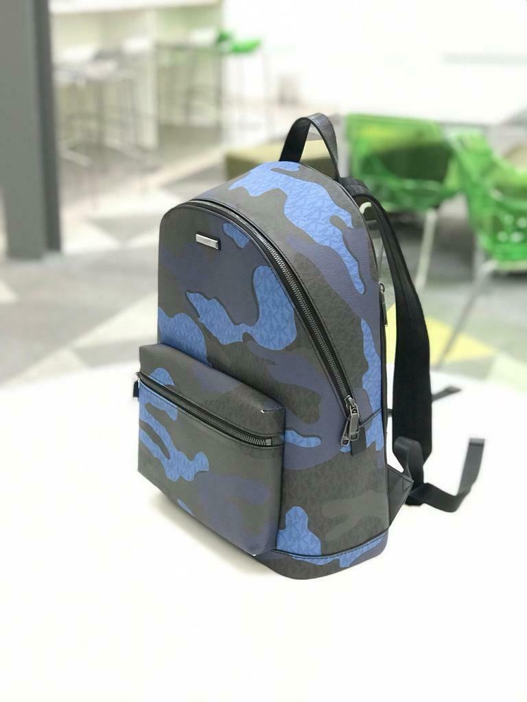 c86a6477e241 MICHAEL KORS MK Leather Kent Blue Camouflage Backpack BAG ...