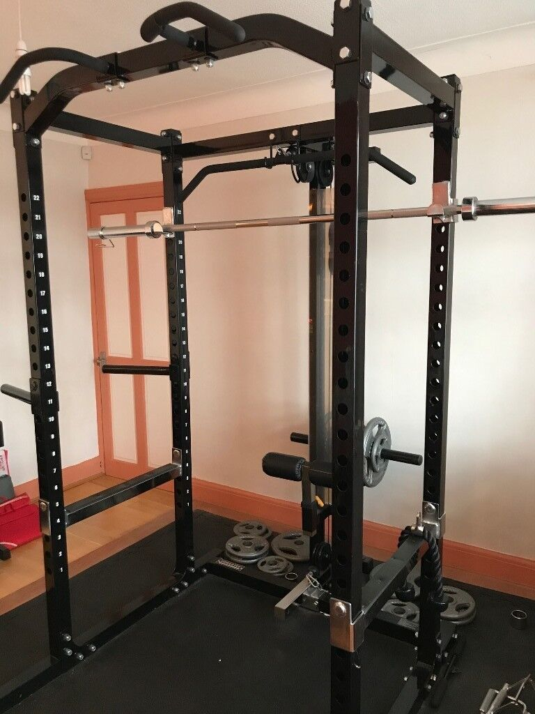 Complete weights training gym equipment bench power rack