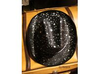 BLACK COWGIRL HAT WITH SILVER STARS ON NEW PARTY OR HEN DO HAVE MORE HATS FOR SALE