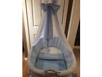 Drape heart wicker crib/Moses basket on wheels by my sweet baby