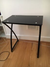 Glass-top black side table for sale