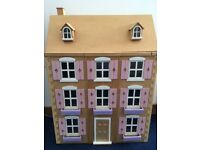 Wooden Dolls House with furnishings and electric lights