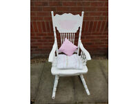 White and pink rocking chair suitable for girls and children in very good condition.