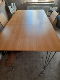 Beech Wood Dining table and 6 chairs