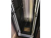 42U Server Rack, Lockable removable doors, side panels, 4x top fan unit with DIY LED Strip inside.