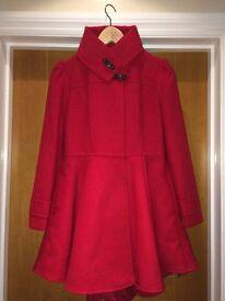 Never worn girls red winter coat. 11-12 years