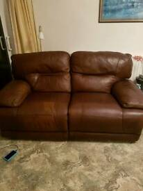 2 seater, 2 chairs (all reclining)leather