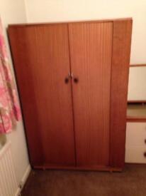 Retro vintage 1960s wood antique wardrobe storage cupboard furniture