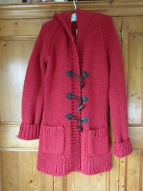 Jack Wills knitted long hooded cardigan/coat in red