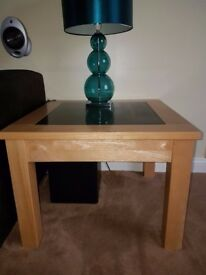 Lamp Table - Rubber Wood with Black Granite Inlay