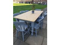 LOCAL DELIVERY Farmhouse pine 6ft DINING TABLE + 8 CHAIRS Grey shabby chic