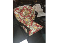 Charming Vintage Ercol Windsor Rocking Chair Dark, Solid Elm, Floral Cushions Circa 1950`s