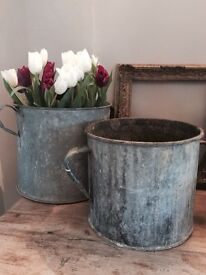 Lovely Old Zinc Planters