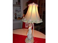 Girls designer lamp in shape of rabbit with shade