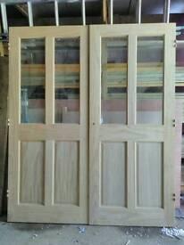 Clear pine glazed double doors