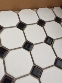 Black and white mosaic floor tiles
