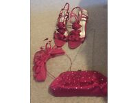 Fuchsia Sandals, Handbag and Fascinator