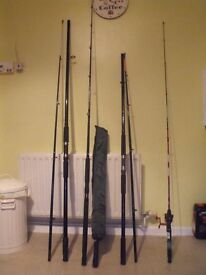 2 Beach caster, 1 Boat Rod, 1 Spinning rod, landing net and selection of hooks line ect and reels..