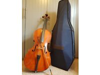 Cello full size 4/4 including bow, case, music stand and pitched tuner