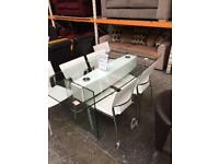 New wren white glass table with 6 x chairs