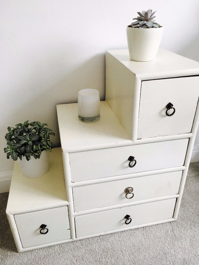 Cream 3 2 drawer unit (Oliver Bonasin Chippenham, WiltshireGumtree - Cream 3 2 drawer unit for sale... Bought from Oliver Bonas originally for £130 Easy to change drawer knobs to update the look Rustic appearance as shown. Could be painted if you want a more uniform look H 65cm x W 65cm x D 35cm. Small drawers 18cm...