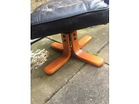 Leather antique foot stool