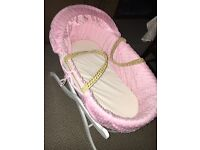 Stunning pink Moses basket