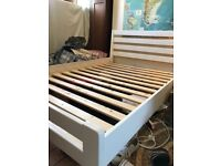 Ikea white double bed frame