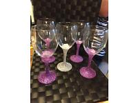 Glitter wine glasses.