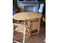 Fold away table and chairs