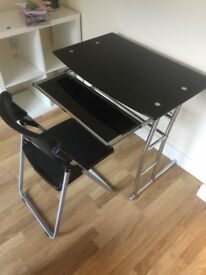 Desk and matching chair black and silver
