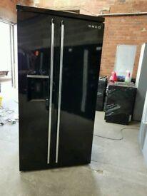 Black Gloss A+++ Class Frost Free SMEG American Style Fridge Freezer