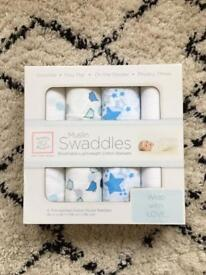 Swaddle Design Large Baby Muslins x4