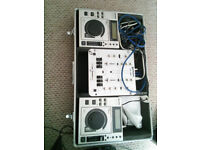cd dj backing track player and mixer very loud with lead case and stand