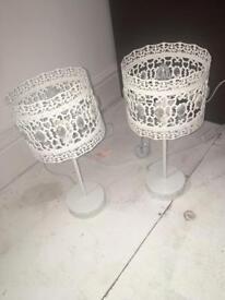 2x lace effect side lamps