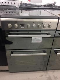 BRAND NEW INDESIT STAINLESS STEEL MIRROR FRONT 60CM ELECTRIC COOKER WITH OVEN & GRILL