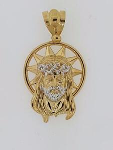 Hip hop jesus piece pendant in 10kt yellow gold