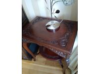 Beautiful Vintage Solid Mahogany Carved Table