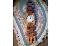 Hand crafted wooden wall clock