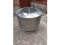 upscaled stainless firepit.patio heater, planter